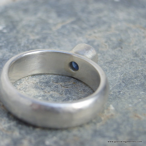 recycled silver and sapphire engagement ring | by Glasswing Jewellery