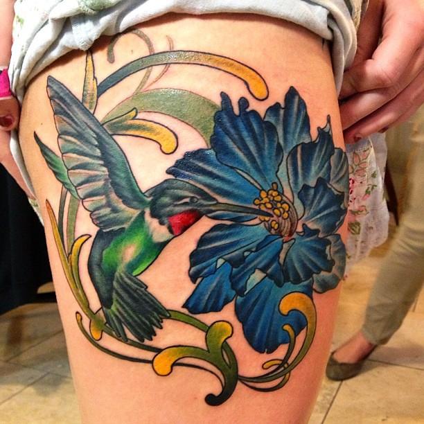 Larkspur Flower Tattoo: #hummingbird And #larkspur #flower #custom #tattoo #tattoo