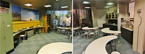Double image showing the children's area from the right and the left. The play area is oblong, with curving walls, cabinets, and counters. There are crescent-moon shaped tables in the middle. The counters are full of rocks.