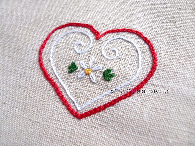 Heart embroidery pattern french knot lazy daisy stem and