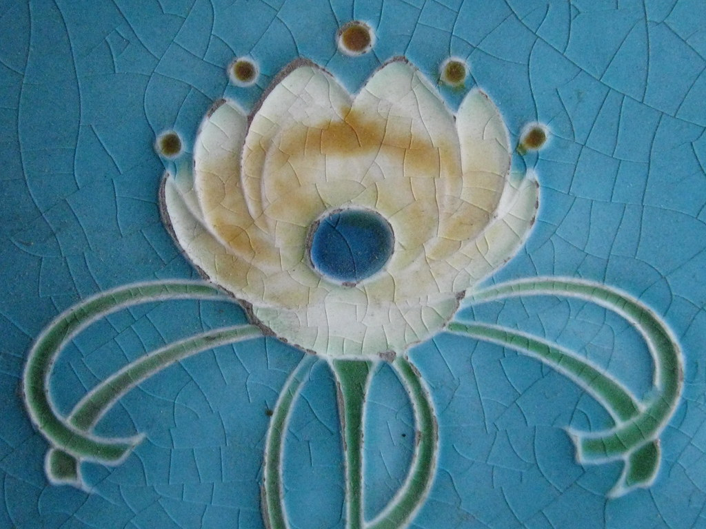 Detail of an Art Nouveau Fireplace Surround Tile of a Rose… | Flickr