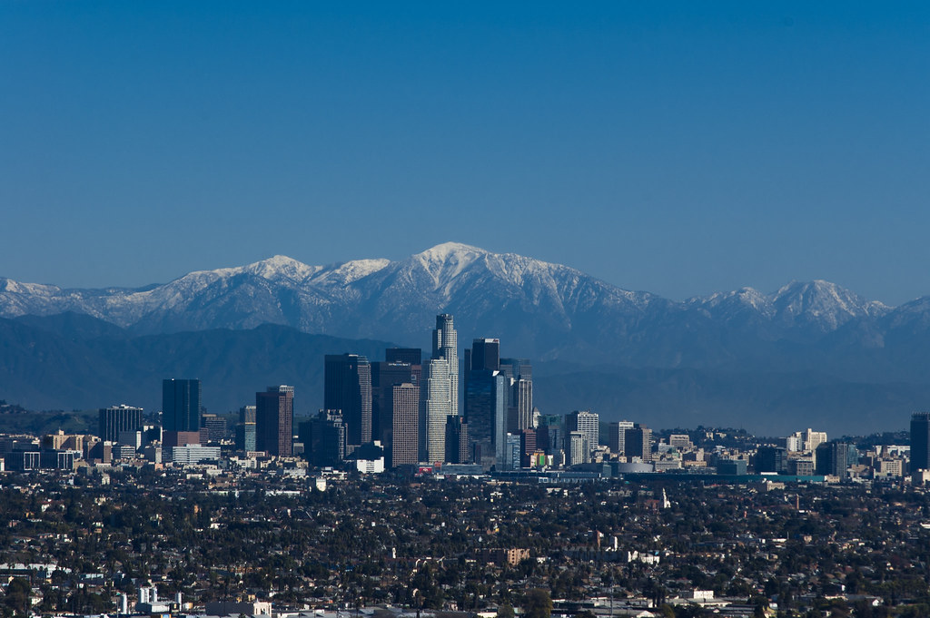 Los Angeles Skyline And Mt San Antonio From Kenneth