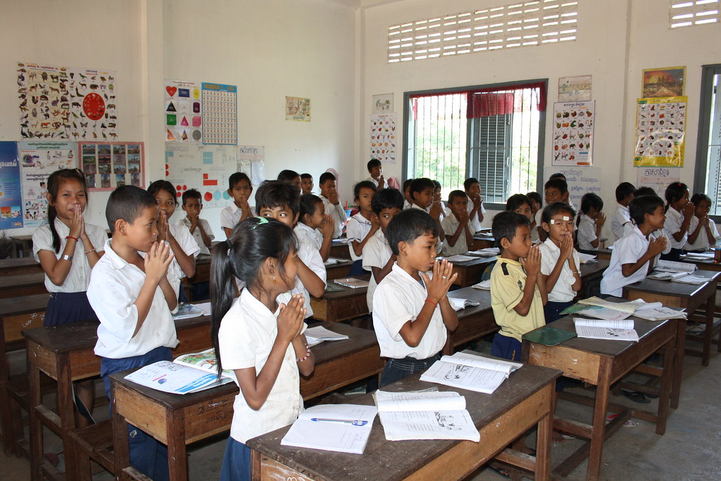 Cambodia: Students Standing in Class | Students stand