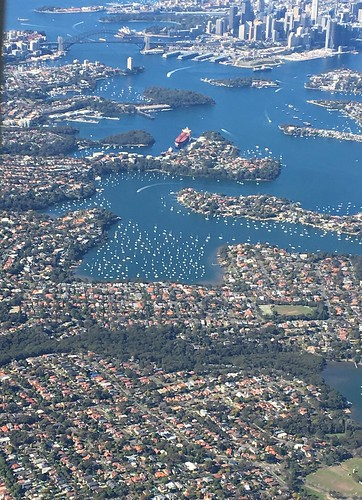 Flying over Sydney Harbor