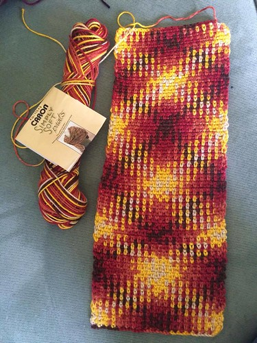 Iron Craft '16 Challenge #19 - Yellow, Red & Brown Planned Pooling Argyle/Plaid Cowl