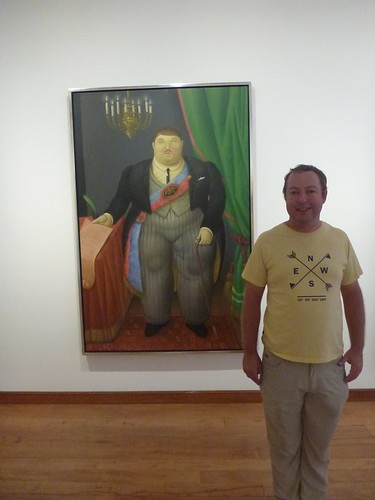 James with a painting of a man