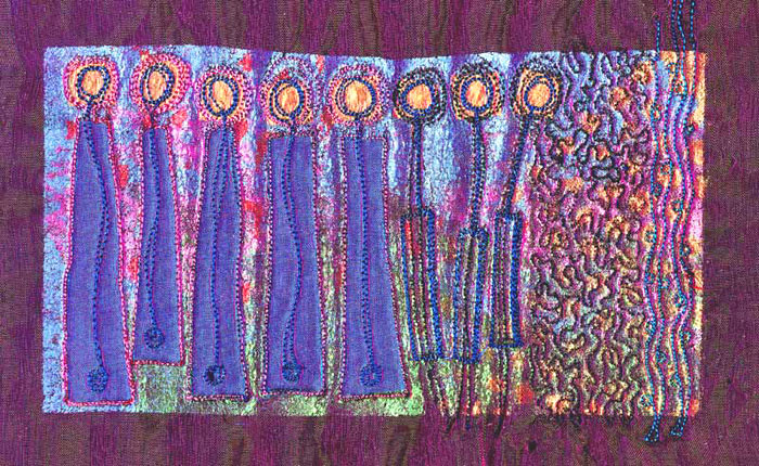 Angie hughes and embroidery stitch textile art fabric for Fabric arts and crafts ideas
