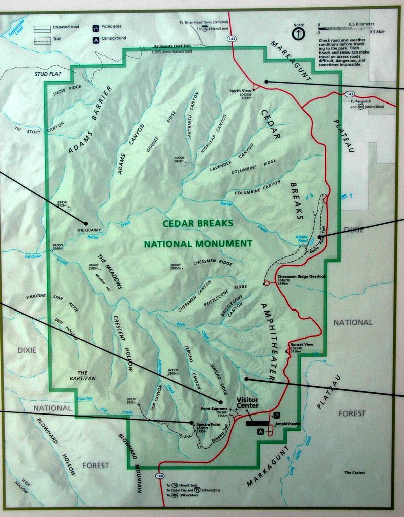 Map of Cedar Breaks National Monument Utah