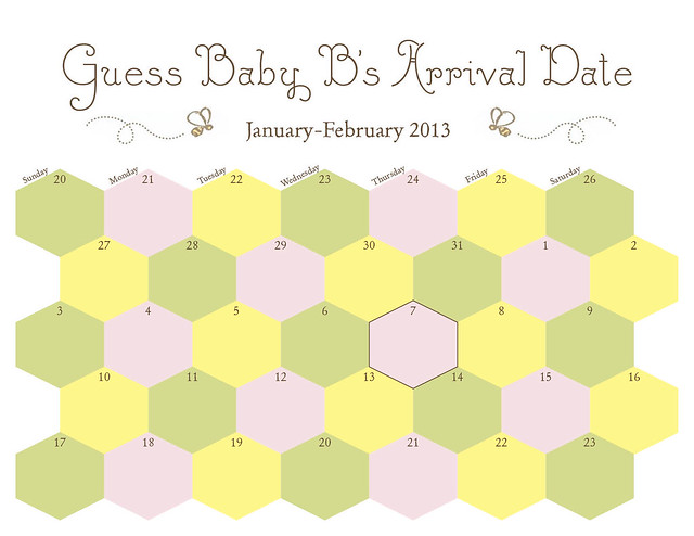 calendar to guess baby b 39 s arrival date honeycomb design flickr