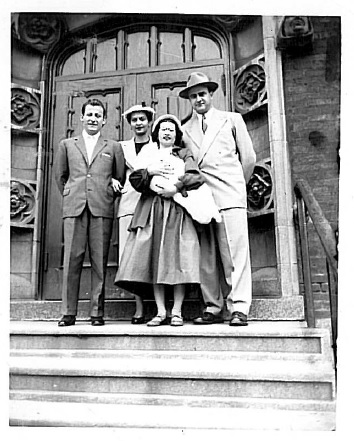 Pictured here (from L to R) is Jerome L. Raffaldini, Sr.; his wife, Theresa DiRenzo Raffaldini; Theresa's sister Clara; Tina Raffaldini, oldest daughter of Jerome and Theresa; and Theresa's brother, Thomas.