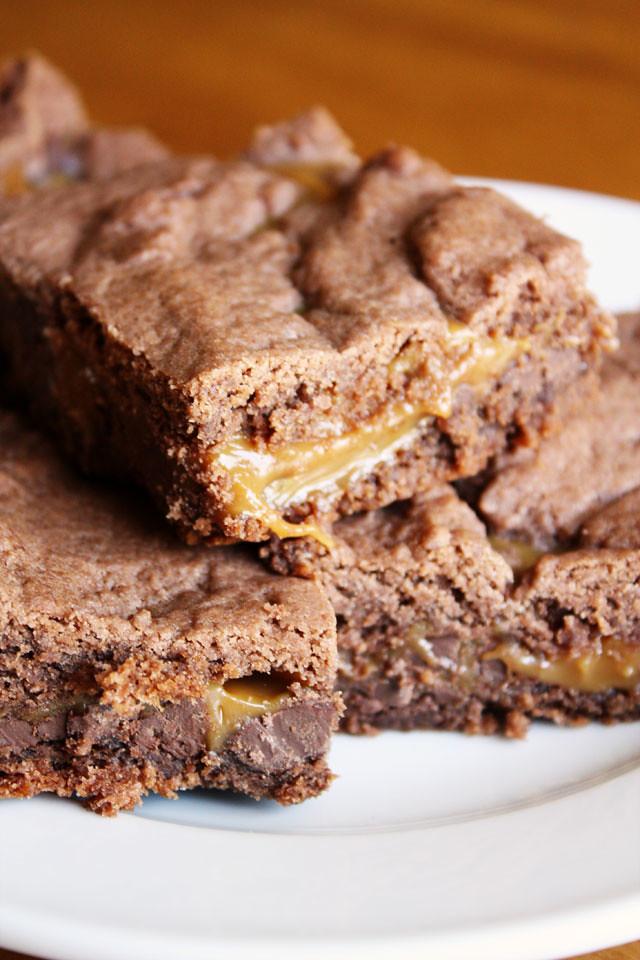 Chocolate Cake Mix Brownies With Caramel