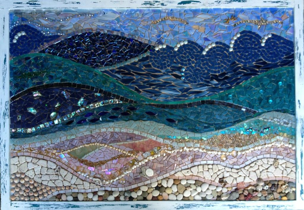 Colour Glass Mosaic Guitar Mirror Ishka