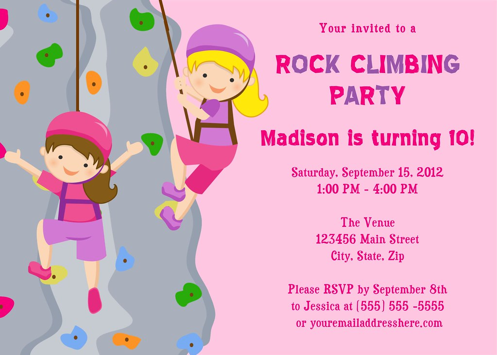 Printable Rock Climbing Birthday Party Invitation I have m Flickr