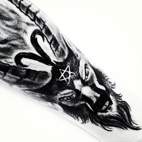 Fire Goattattoo Arm Star Blacknwhite  Decia Bodden Flickr