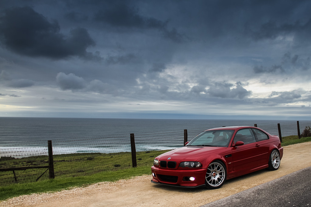 Imola Red BMW E46 M3 on BBS CH wheels at Big Sur Californi ...