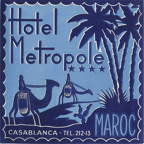 Casablanca Morocco metropole  Art of the Luggage Label