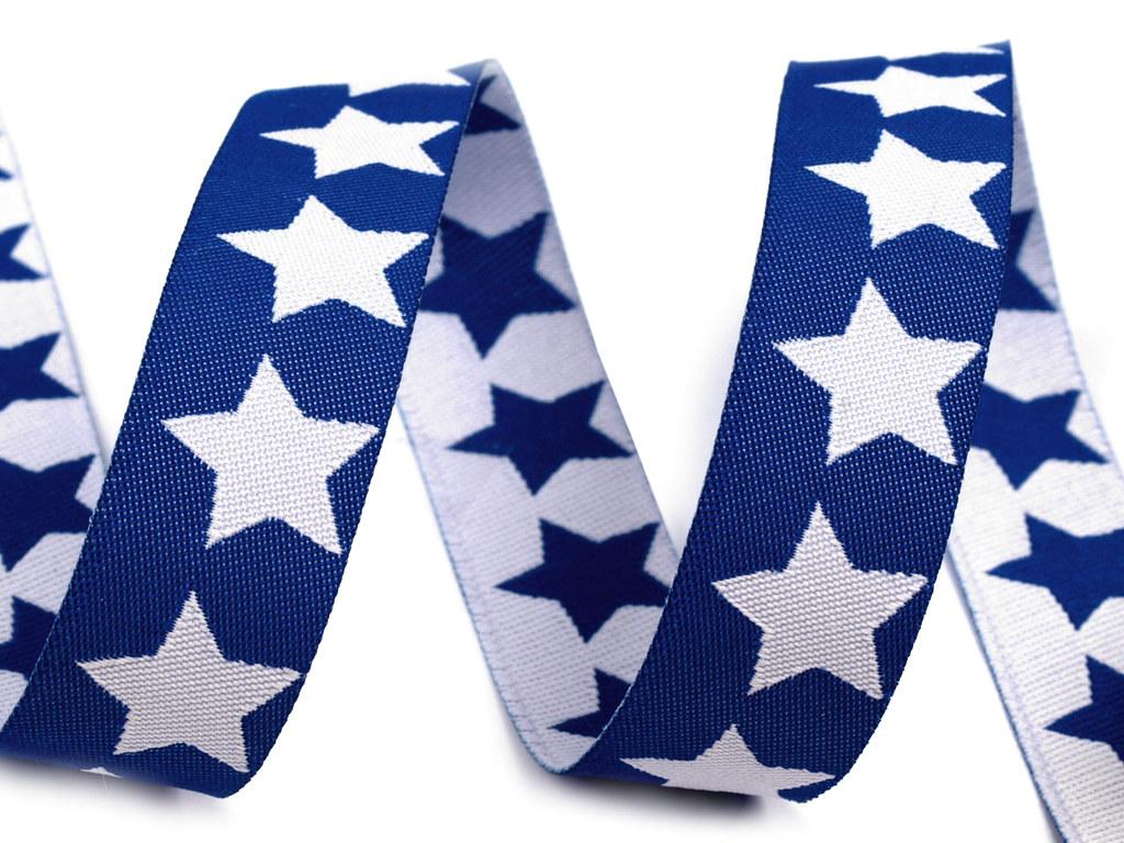"Webband ""Sterne"", blau-weiß"