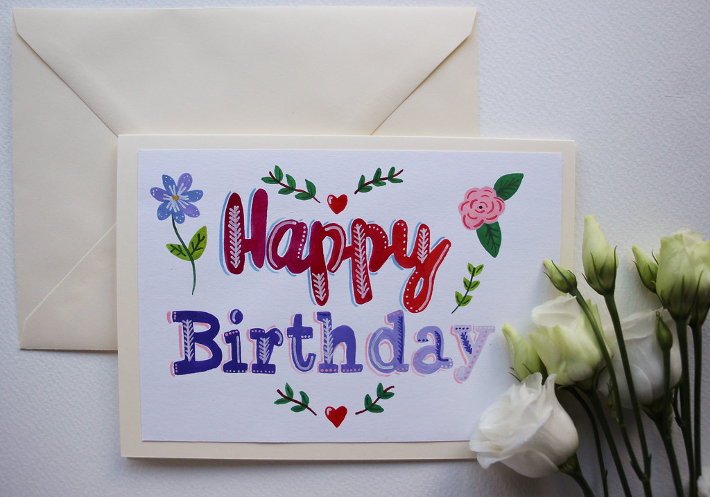 Hand painted original happy birthday greeting card