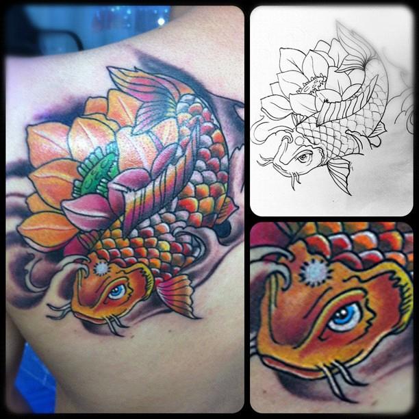Tattoo de hoy fish koi tinta tattoo tatuaje orienta for Koi carp tattoo colours