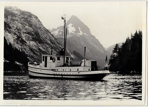 A historic photo of the M/V Chugach ranger boat