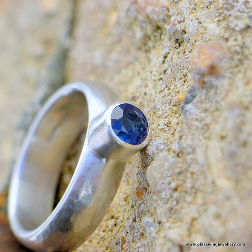5mm recycled silver and tube set sapphire | by Glasswing Jewellery