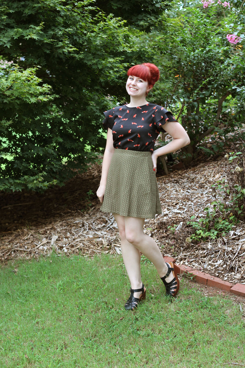 Fox Print Ruffle Sleeve Top Lace Khaki Green Skater Skirt Black Chunky Fisherman Sandal Heels