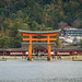 The famous Torii Gate of the Itsukushima Shrine viewed from Hiroshima Bay, Miyajima