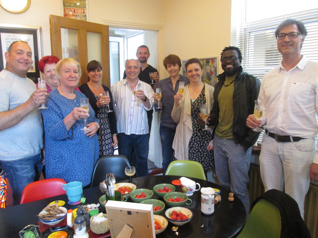 NLP group celebrate with Champagne