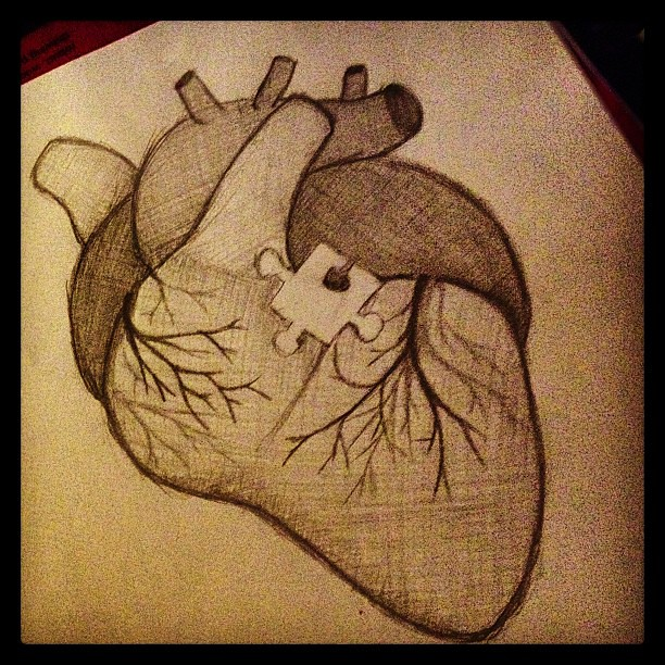 Missing piece... #heart #love #puzzle #piece #pencil #draw ...