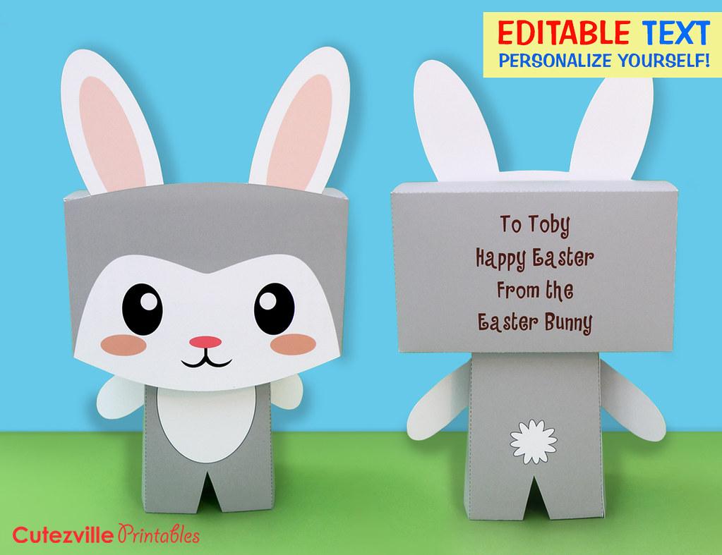 Printable kawaii boy bunny rabbit gift box with editable t flickr printable kawaii boy bunny rabbit gift box with editable text features personalize yourself by negle Image collections