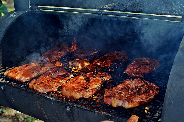 Pork on the grill