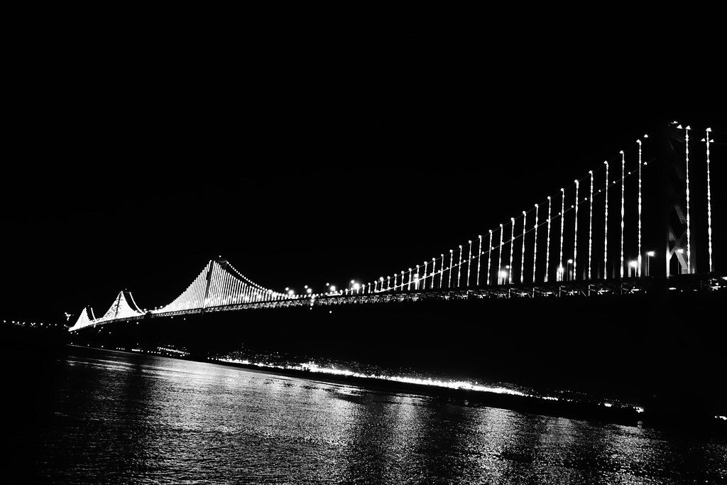Testing the Bay Lights on the Bay Bridge