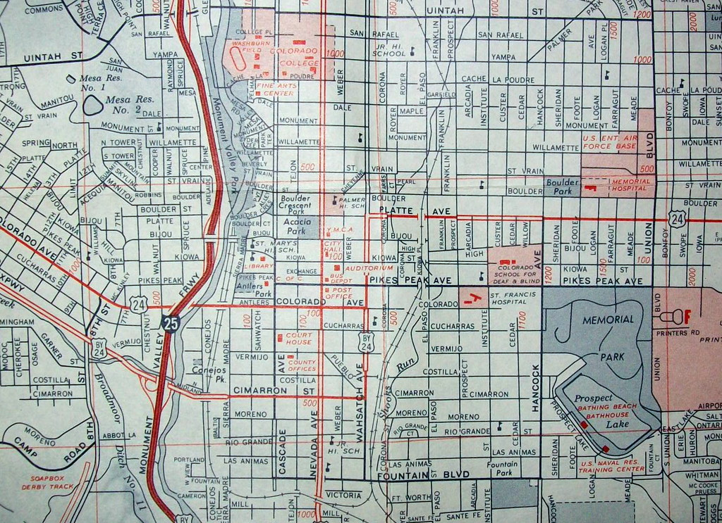 Colorado Springs CO 1972 Map by H M Gousha Published for Flickr