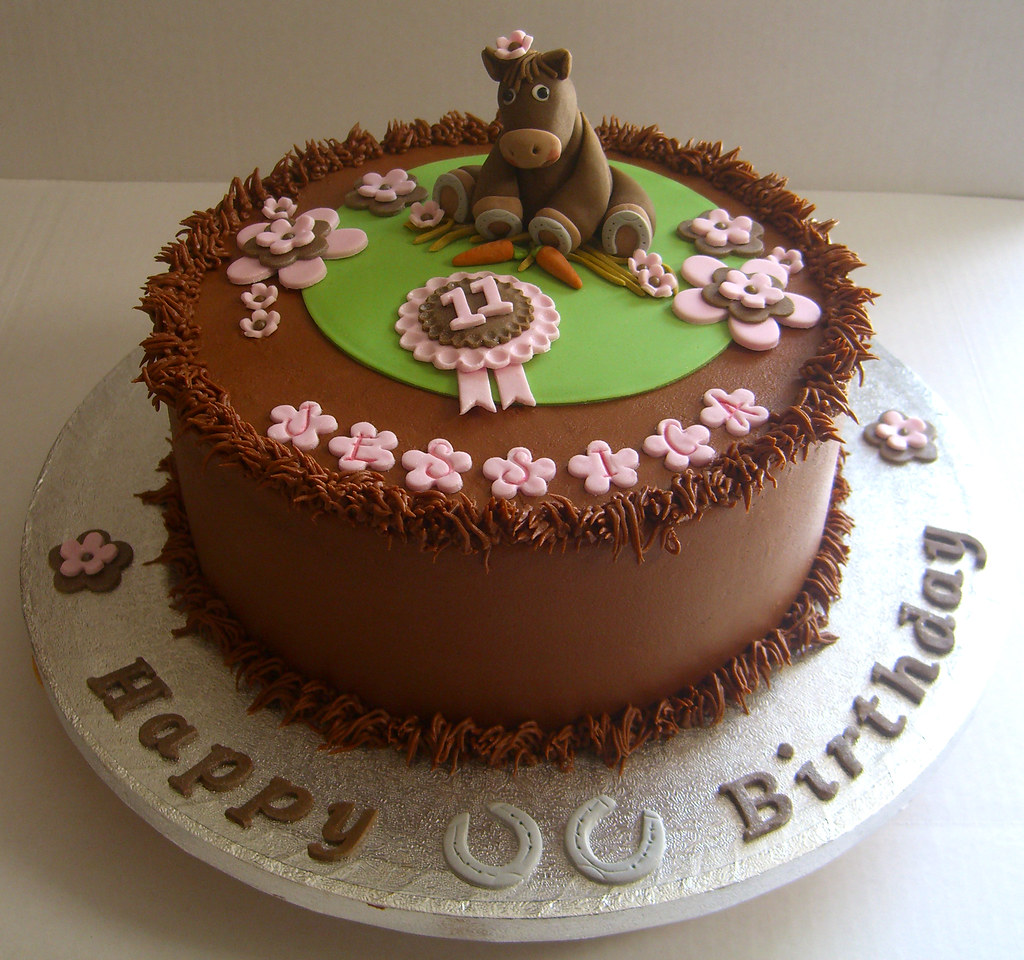 Horse Themed Birthday Cake 9 Inch Chocolate Cake With Hand Flickr