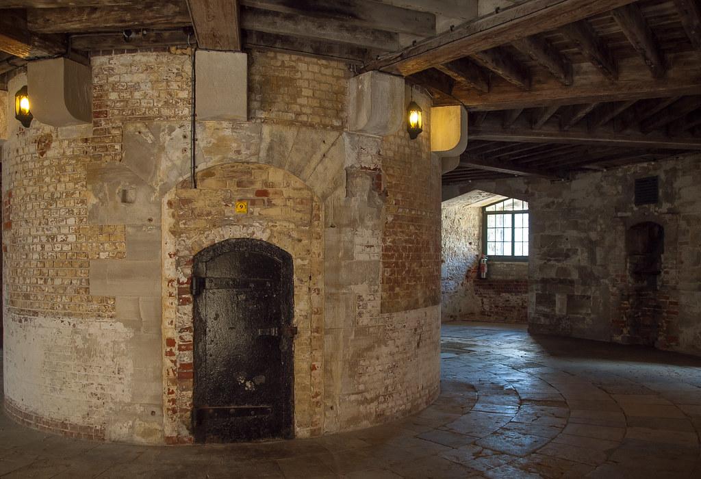 Interior of the circular Keep of 16th century Hurst Castle ...