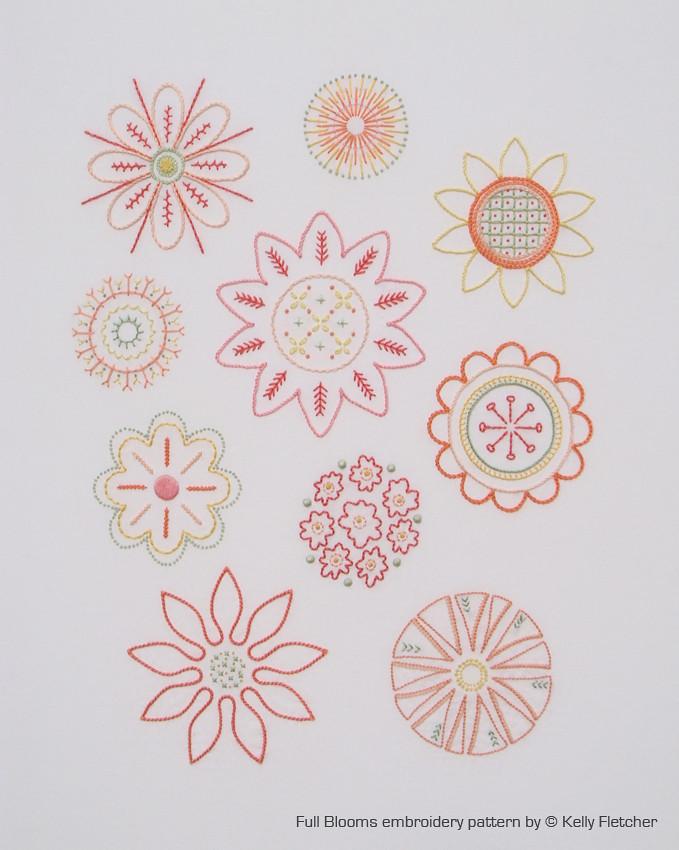 Full Blooms | Pattern For 10 Hand Embroidered Floral Motifs | Kelly Fletcher Needlework Design ...