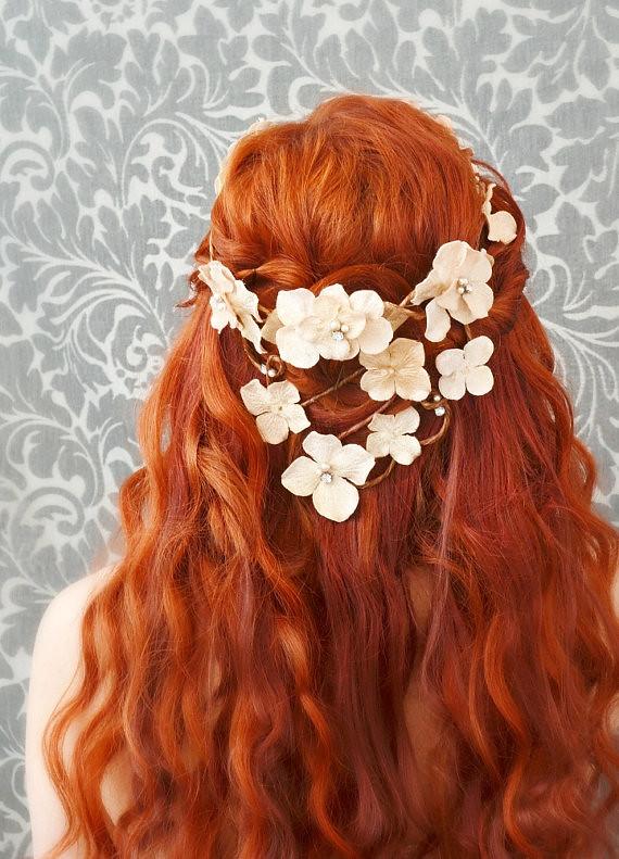 ... wedding flower crown, hair wreath, cream velvet floral head piece, bridal accessory -