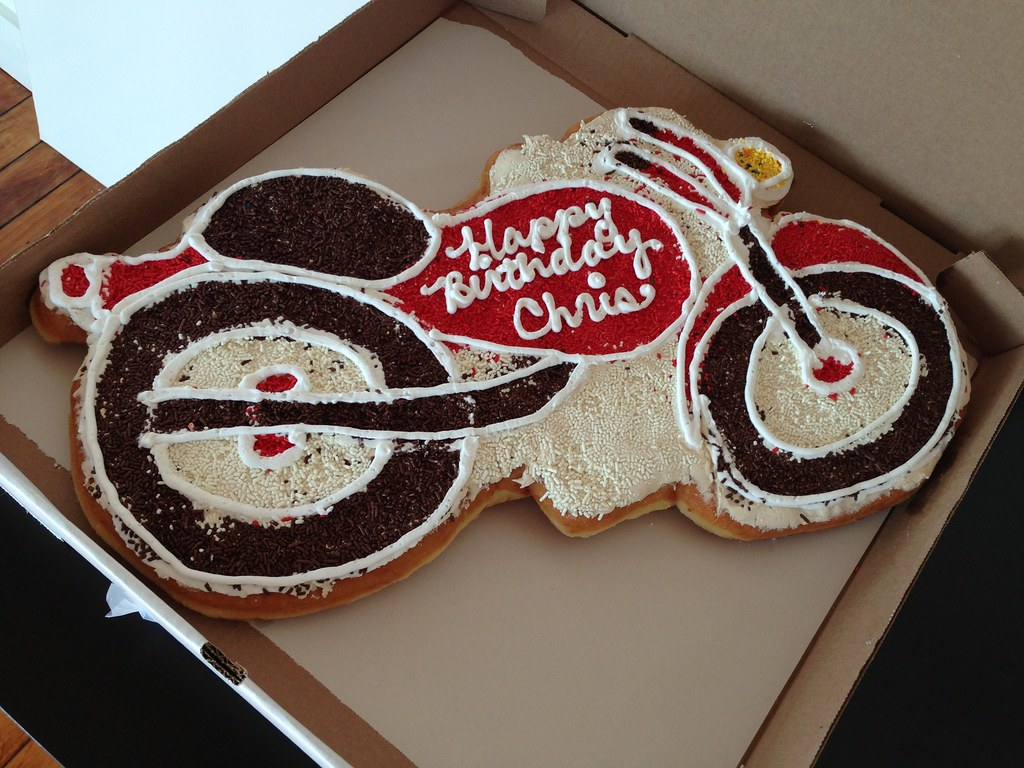 Motorcycle Motorcycle Donut Cake Happy Birthday Chris