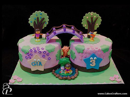 Dora Cake Recipe In English: Gia's Mom Asked For Two Dora Cakes Connected