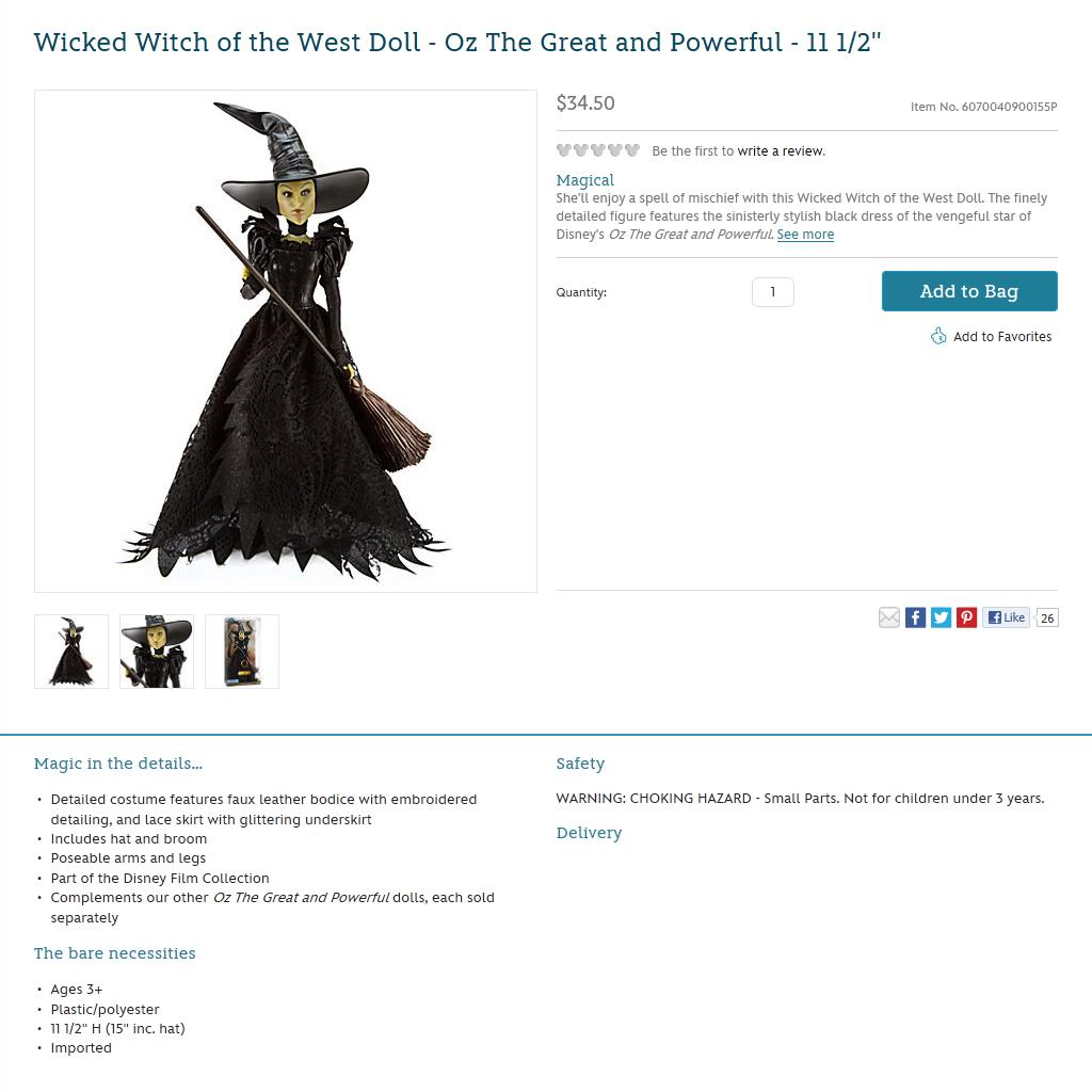 Wicked Witch of the West Doll - Oz The Great and Powerful … | Flickr