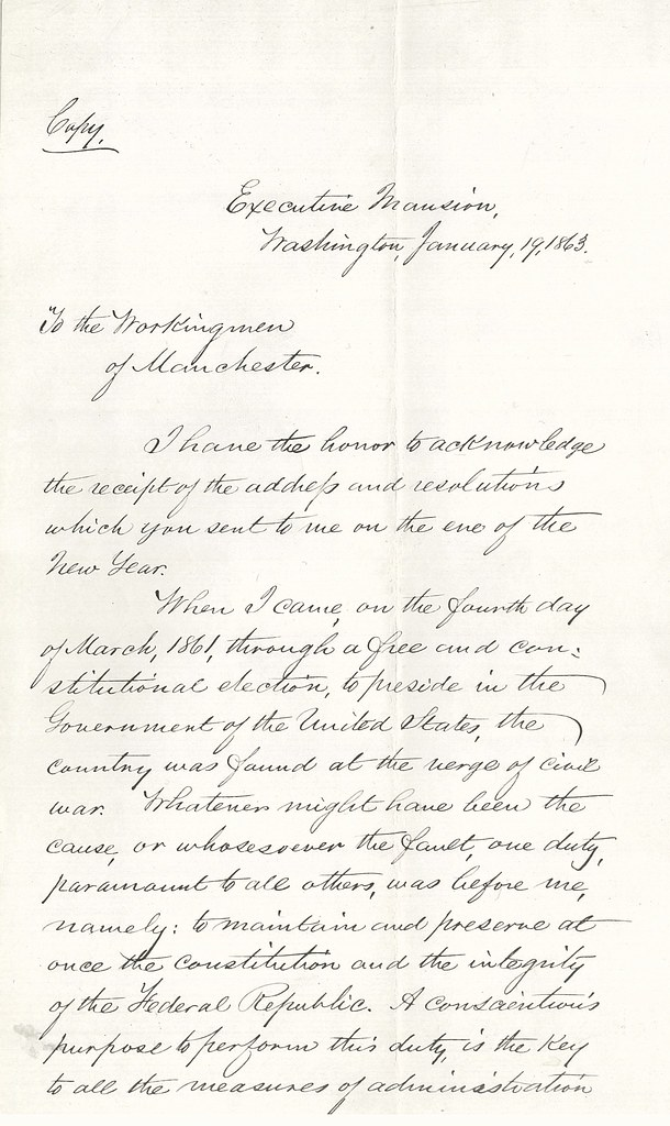 letter from abraham lincoln to the workingmen of mancheste