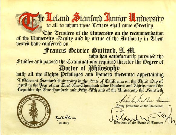 Francis Guittards Diploma Documenting His Phd From Stanfo