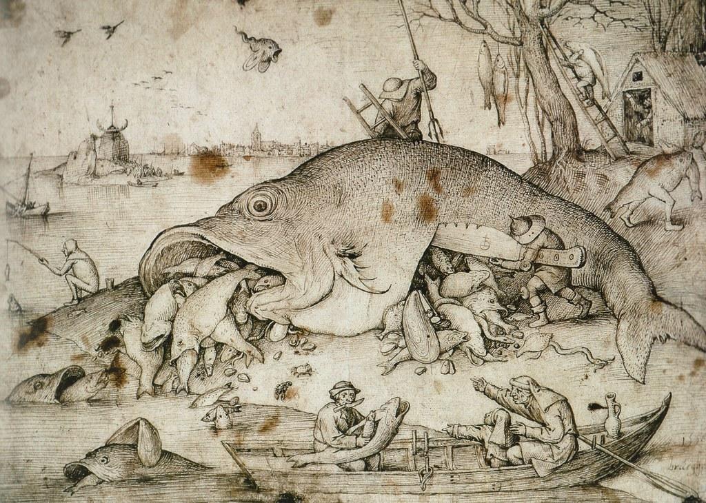 Pieter bruegel d gro e fische fressen kleine fische for Fressen kois kleine fische