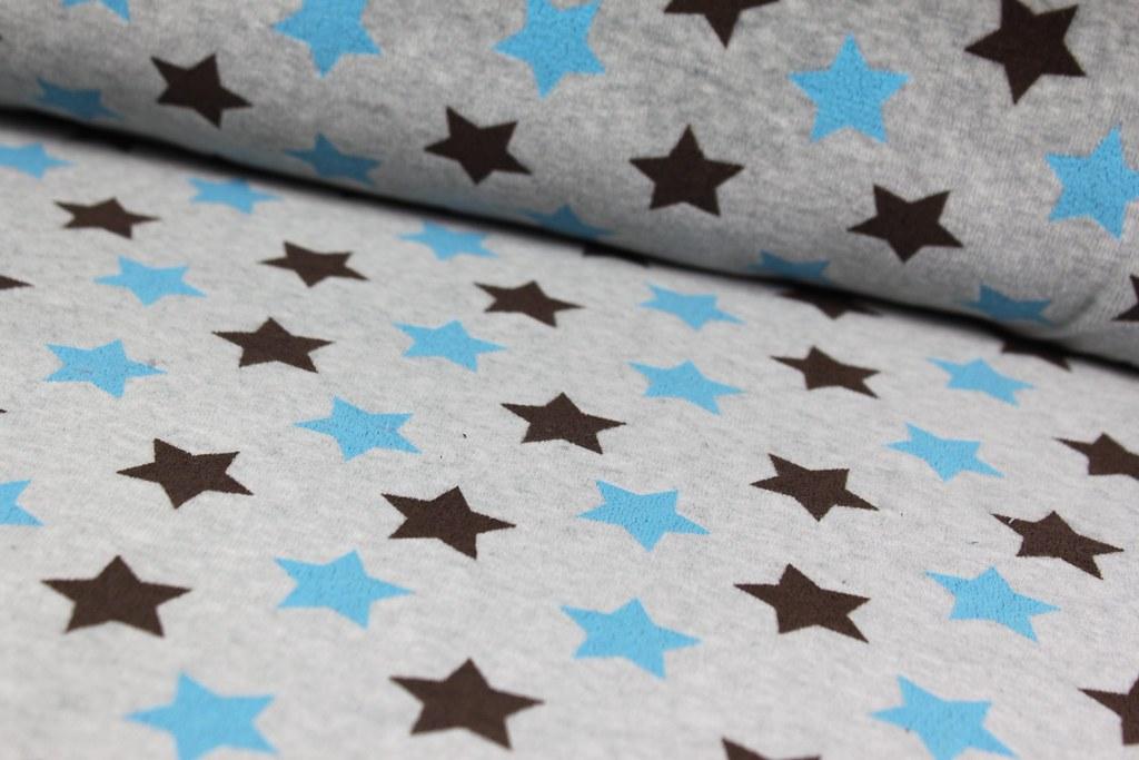 "Nickistoff ""Sterne"", blau-braun"
