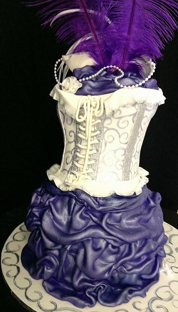 Black White Purple Masquerade Cake