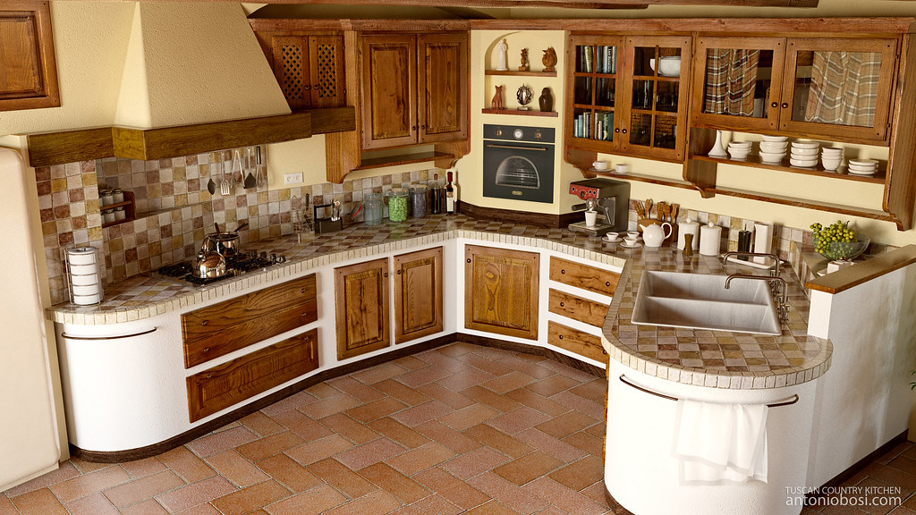 Traditional White Kitchen Design 3d Rendering: Country Kitchen Render (Italian Traditional Tuscan Style