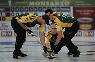 Edmonton Ab.Mar4,2013.Tim Hortons Brier.Northern Ontario sjip Brad Jacobs,lead Ryan Harnden,second E.J.Harnden.CCA/michael burns photo | by seasonofchampions