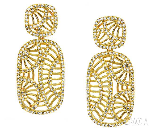 ... Brinco de Festa Semi Joia de Luxo Com Cravação de Micro Zirconias  Folheado Ouro   by c9a596dbbc