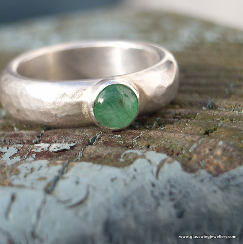 chunky gem set emerald recycled silver ring | by Glasswing Jewellery