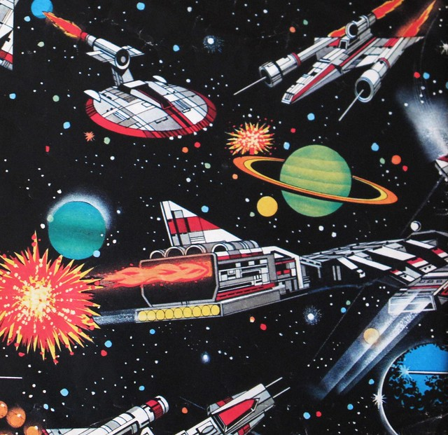 Rare Wonderful 1950s Space Art: Vintage Space Themed Wrapping Paper